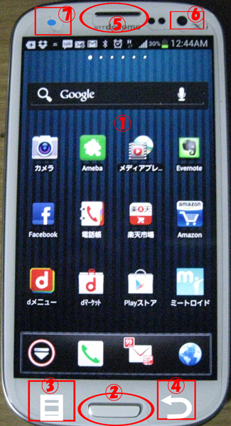 ギャラクシーS3の各部名称 トップ画面